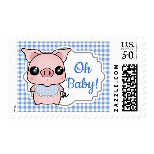 Blue Gingham Piggy Baby Shower Postage