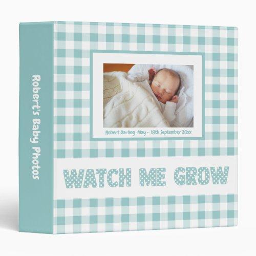 Blue Gingham  Polka Dots _ Baby Boy Photo Album 3 Ring Binder