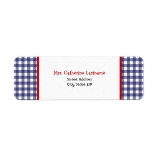 Blue Gingham & Red Address Label Sticker
