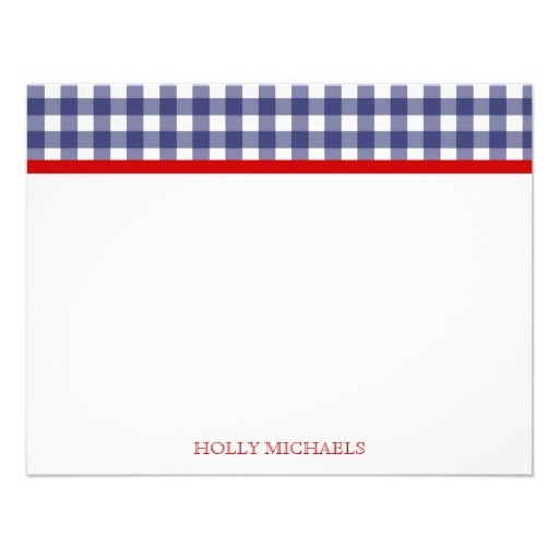 Blue Gingham & Red Flat Notecards Invitation
