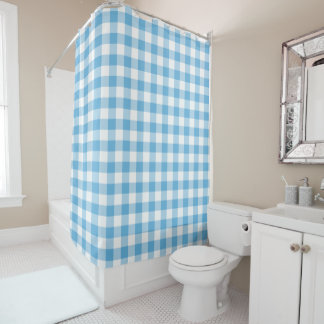 Blue Gingham Shower Curtain
