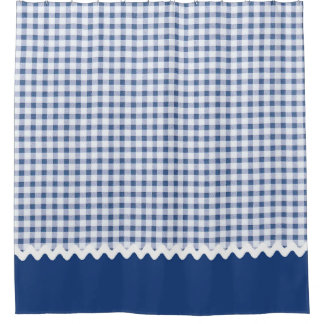 Blue Gingham Shower Curtain