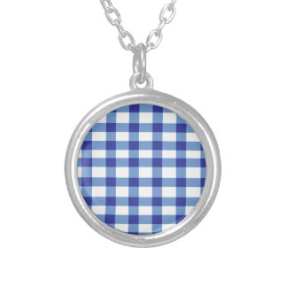 Blue Gingham Silver Plated Necklace