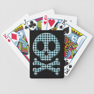Blue Gingham Skull Bicycle Playing Cards