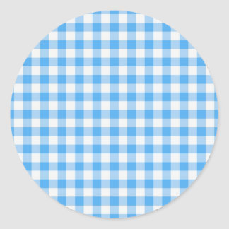 Blue gingham round stickers