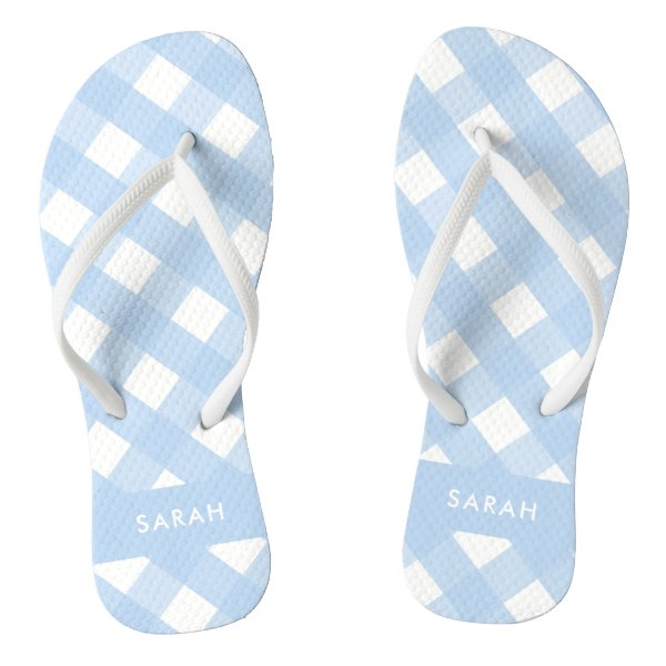 Blue Gingham Thongs Personalized Flip Flops