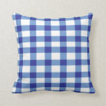 "Blue Gingham Throw Pillow<br><div class=""desc"">Blue Gingham throw pillow. Unique throw pillow with a blue gingham pattern.</div>"