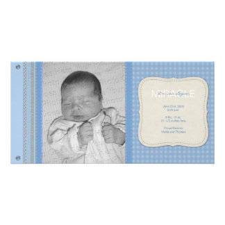 Blue Gingham Vintage Birth Announcement Customized Photo Card