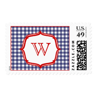 Blue Gingham With Red - Monogram Postage
