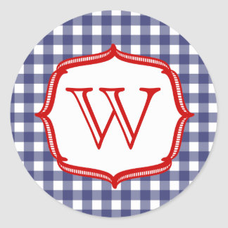 Blue Gingham With Red Monogram Sticker