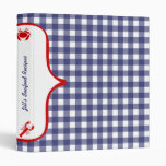Blue Gingham With Red Seafood Recipes Binder