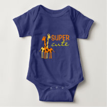 Blue Giraffe Animal Super Cute Baby Bodysuit