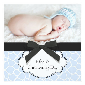 "Blue Giraffe Baby Boy Photo Christening 5.25"" Square Invitation Card"