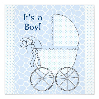 Blue Giraffe Baby Carriage Baby Boy Shower 5.25x5.25 Square Paper Invitation Card