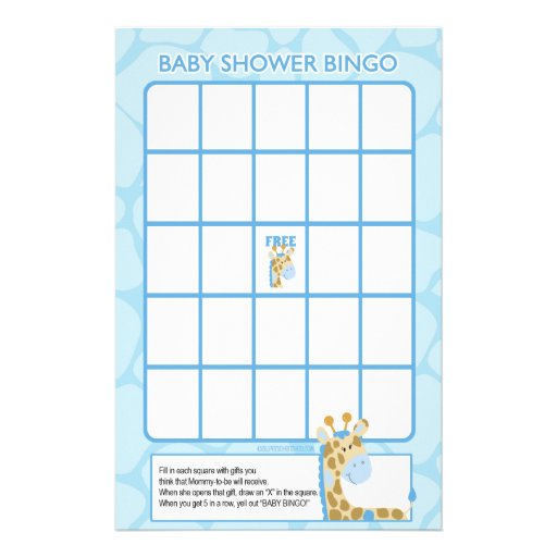 Blue Giraffe Baby Shower Bingo Game Stationery