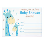 Blue giraffe baby shower invitation