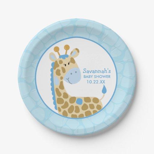 Blue Giraffe Baby Shower Paper Plate