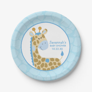 Blue Giraffe Baby Shower Paper Plate 7 Inch Paper Plate