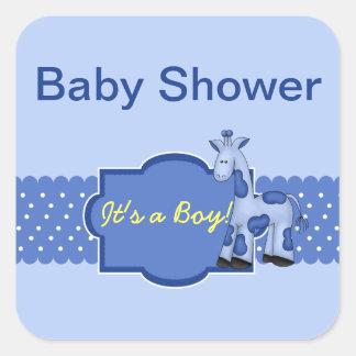 Blue Giraffe Baby Shower Stickers