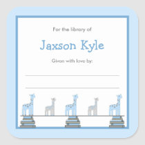 Blue Giraffe Boy Baby Shower Bookplates