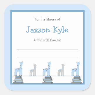 Blue Giraffe Boy Baby Shower Bookplates Square Sticker