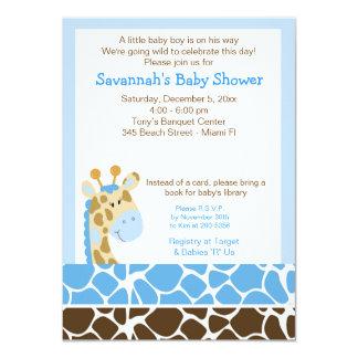 Blue Giraffe Boy Baby Shower Invitation Personalized Invite