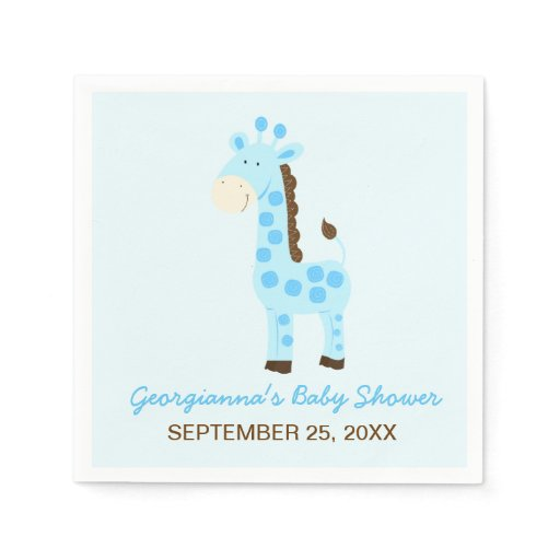 Blue Giraffe Customized Baby Shower Napkin