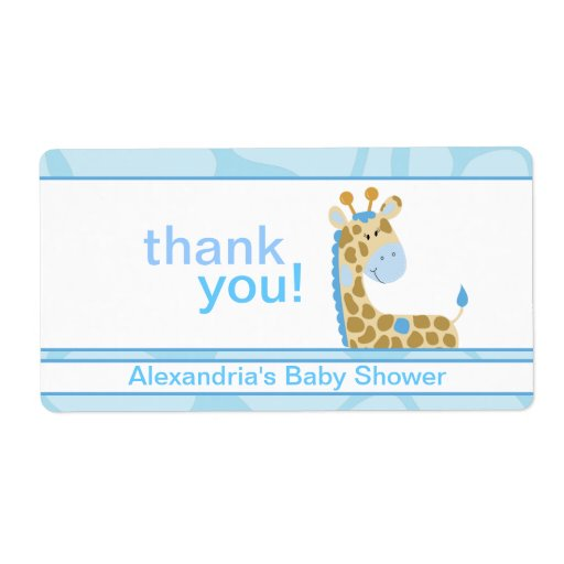 Blue Giraffe Customized Large Water Bottle Sticker Personalized Shipping Label