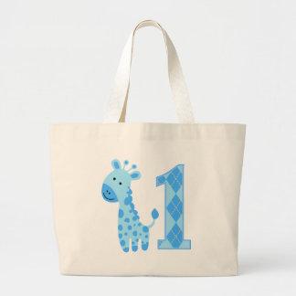 Blue Giraffe First Birthday Tote Bags