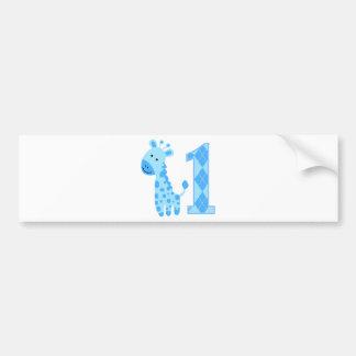 Blue Giraffe First Birthday Bumper Sticker