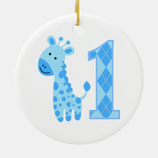 Blue Giraffe First Birthday Double-Sided Ceramic Round Christmas Ornament