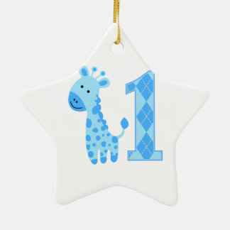 Blue Giraffe First Birthday Double-Sided Star Ceramic Christmas Ornament
