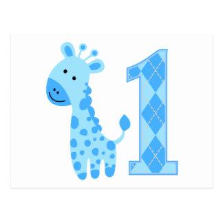 Blue Giraffe First Birthday Postcard