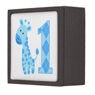 Blue Giraffe First Birthday Premium Trinket Boxes