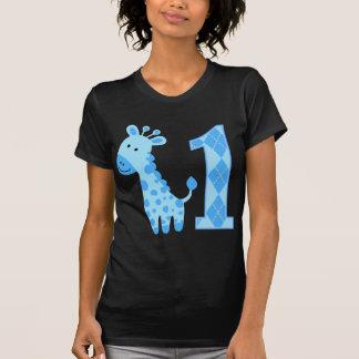 Blue Giraffe First Birthday Tee Shirt