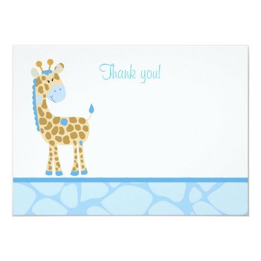Blue Giraffe Flat Thank you note Card
