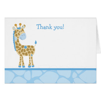 Blue Giraffe Folded Thank you Note Card