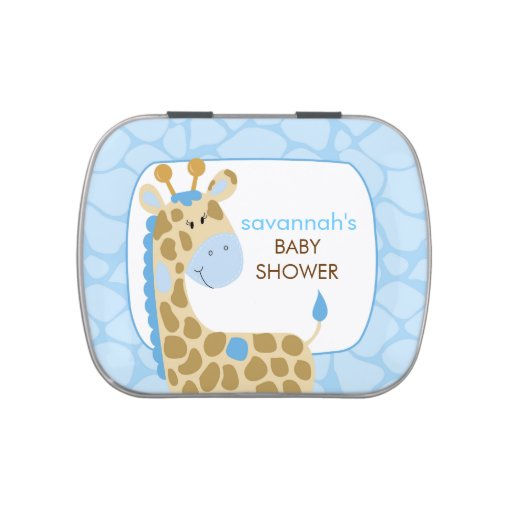 Blue Giraffe Jungle Baby Shower Favor Tin Jelly Belly Candy Tins