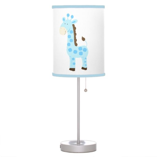 Blue Giraffe Nursery Lamp (Light Blue Trim)