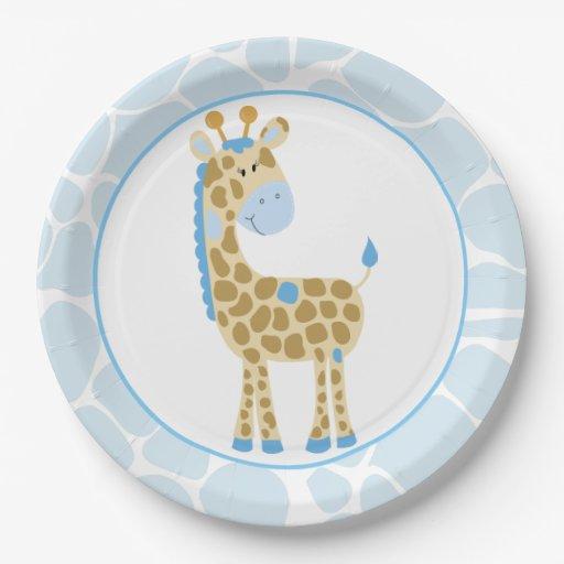 Blue Giraffe Paper Plates