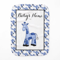 Blue Giraffe Personalized Baby Burp Cloth