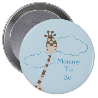 Blue Giraffe Personalized Mommy to Be Button