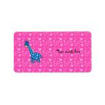 Blue giraffe pink hearts address label