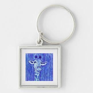 Blue Giraffe Portrait wild animal art African Keychain