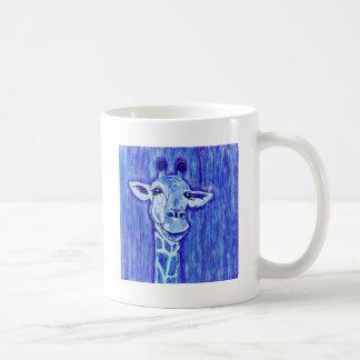 Blue Giraffe Portrait wild animal art African Coffee Mugs