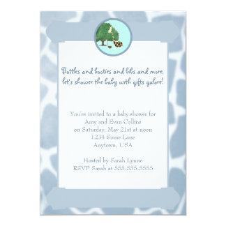Blue Giraffe Print Border Baby Shower Invitation
