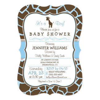 Blue Giraffe Print Boy Baby Shower Invitation