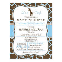 Blue Giraffe Print Boy Baby Shower Invitation Postcard