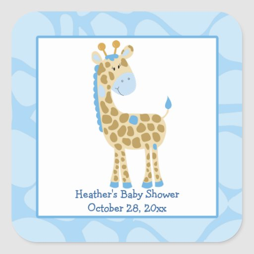 Blue Giraffe Print Favor Stickers