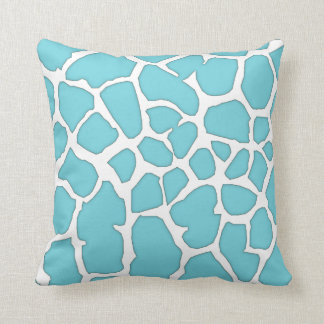 blue giraffe skin throw pillow